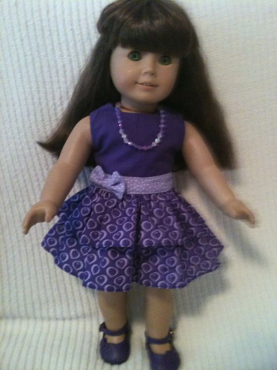 18 inch doll modeled by American Girl Purple party by peggysprozac, $12.00