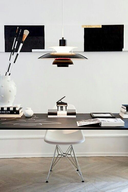 #interior #styling #decor #workplace #office #Scandinavian #white #black #BW #lamp