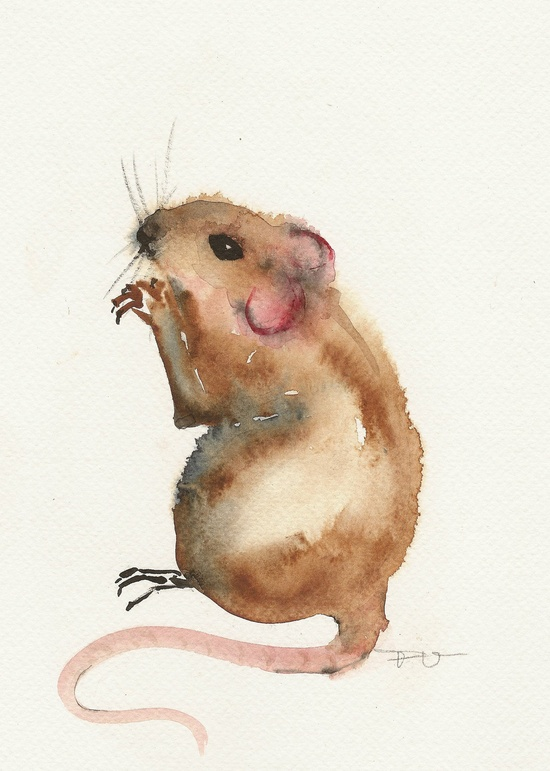 Little mouse Original watercolor painting art by FrancinaMaria
