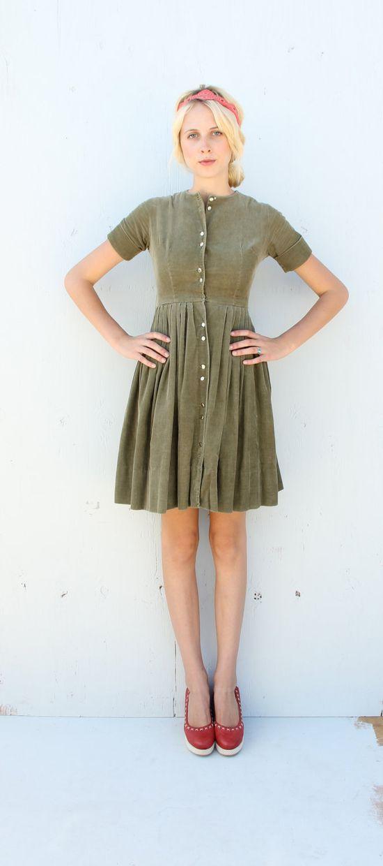 1950s Corduroy Dress / Mossy Green Shirtwaist Dress / small via Etsy.