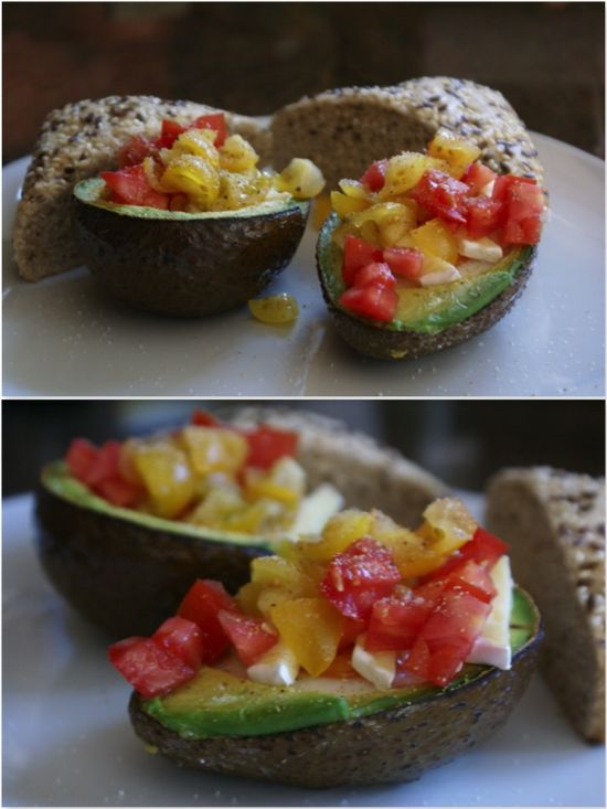 Health breakfast option from the Runner's Kitchen: Avocado baked eggs with parmesan and tomatoes