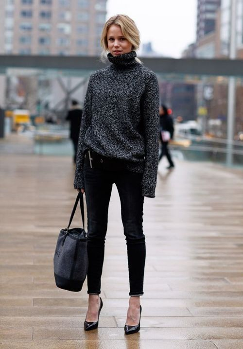 slouchy turtleneck with skinny jeans