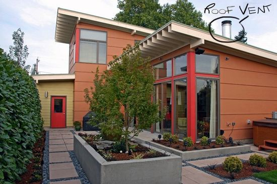 #Modern #home #design with large #windows and slanted #roof.