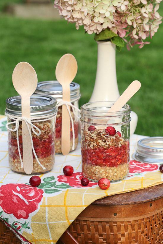 Cranberry dessert in a jar