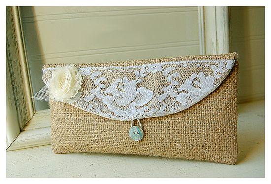 burlap purse bag lace wedding clutch rustic cotton by hoganfe, $19.00