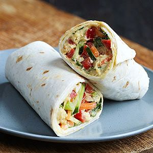 The perfect picnic food, these satisfying vegetarian wraps can be made up to two hours ahead of time.