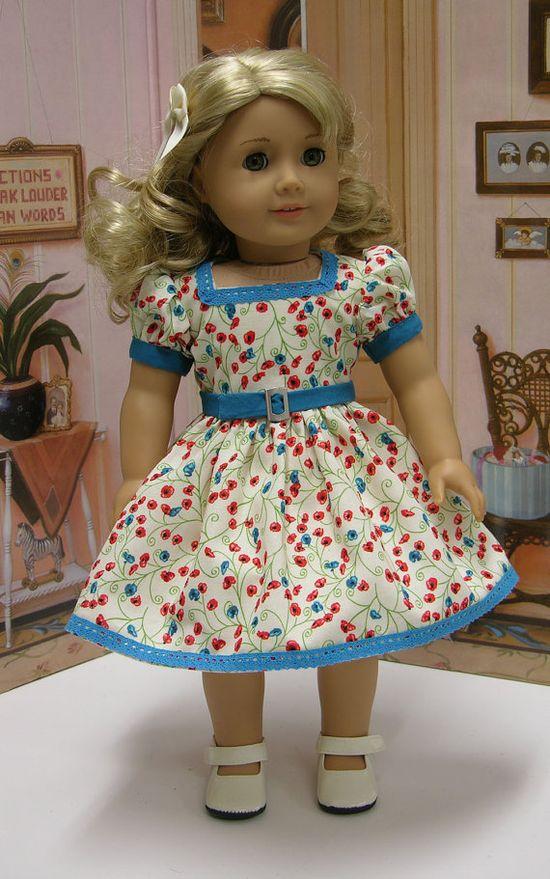 Pretty Poppy  vintage dress for American Girl by cupcakecutiepie, $45.00