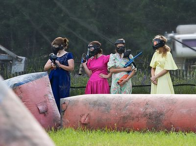 That's hilarious! Best bachelorette party ever! Everybody finds the most hideous bridesmaid dress at thrift stores and goes paintballing....