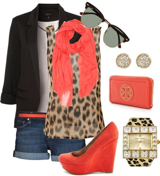Black blazer, denim shorts, peach belt, cheetah watch, peach scarve, diamond stud earrings, cheetah print tank top, peach zip up purse and retro 30's sunglasses. Cute Outfit.