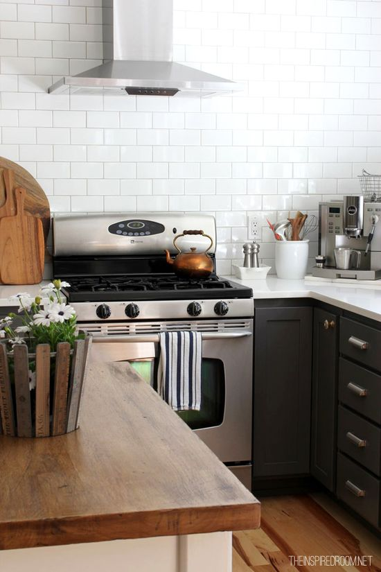 White subway tile, charcoal cabinets