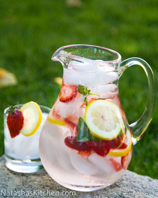 Lemon-strawberry-basil infused water. Great for parties.