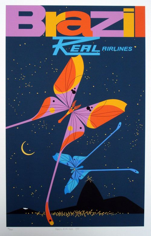 Brazil Real Airlines travel poster by Charley Harper (1951)
