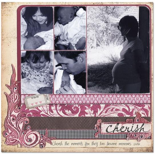 Cherish...Welcome Baby - Scrapbook.com - #scrapbooking #layouts #baby