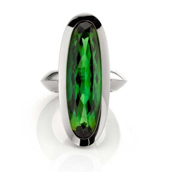 Green Tourmaline ring in 18k Oro Grigio (White gold) by Jochen Pohl