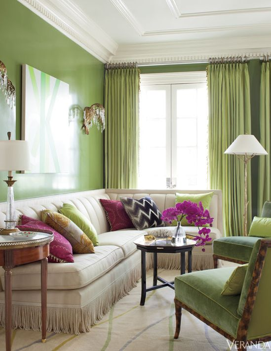 Beautiful banquette with trim, Spring green glossy walls and chair upholstery - Interior Design by Julie Hayes
