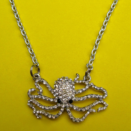 RHINESTONE OCTOPUS NECKLACE. $22.00.  OMG that's cute!