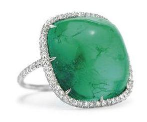 "Emerald and diamond ""Thread"" ring by JAR"