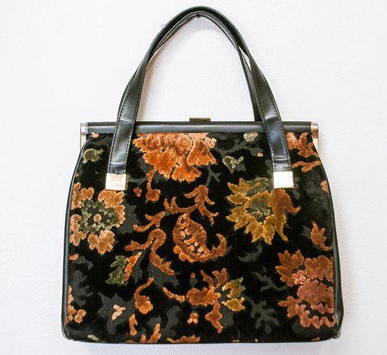 Vintage 1960s Purse - Floral Tapestry Carpet Bag Black Handbag - 50s / 60s