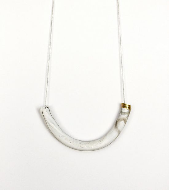 marbled semicircle tube necklace / a merry mishap