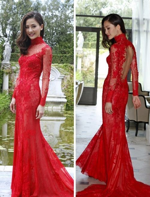 LOVE this red lace ao dai and the
