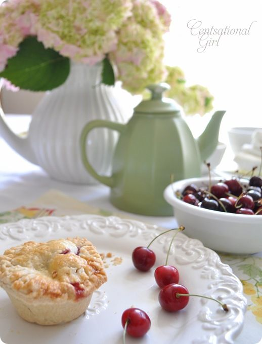 Mini Cherry Almond Pie #cherry #pie