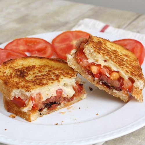 Garlic-rubbed grilled cheese with bacon and tomatoes.