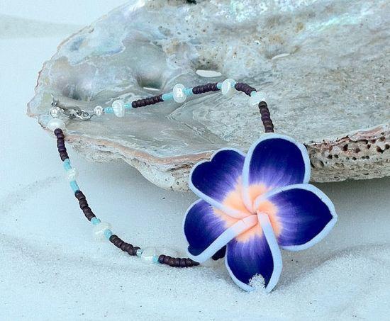 Hawaiian Plumeria Anklet Beach Jewelry Polymer by natashaaloha, $20.00