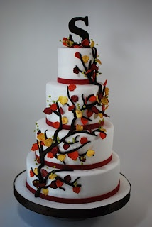 Cup a Dee Cakes Blog: Fall Leaves Wedding Cake