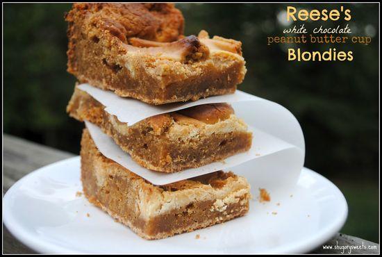 Peanut Butter Cup Blondies @ShugarySweets