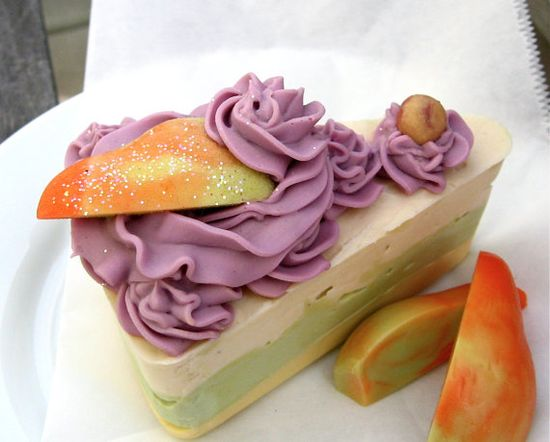 Handmade cold process cake soap with real champagne