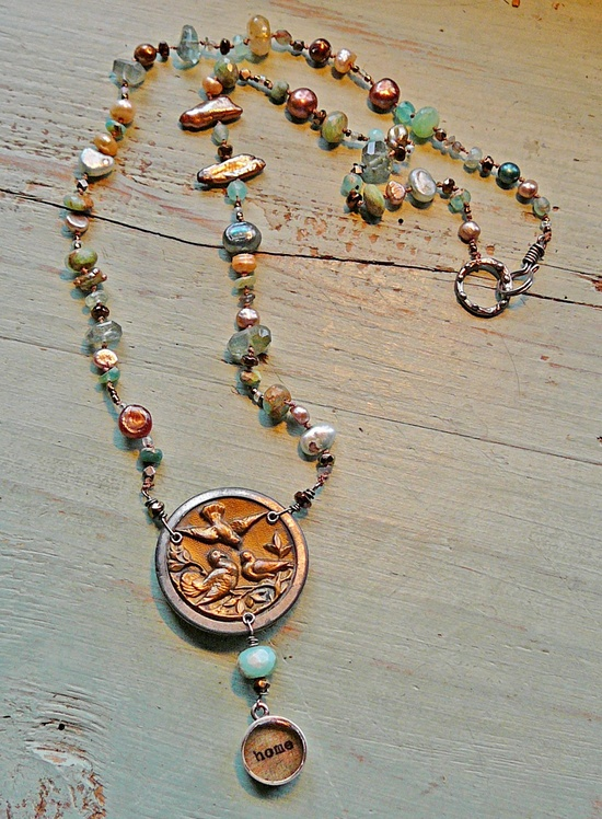 Nina Bagley -- Home Necklace with Antique Bird Button