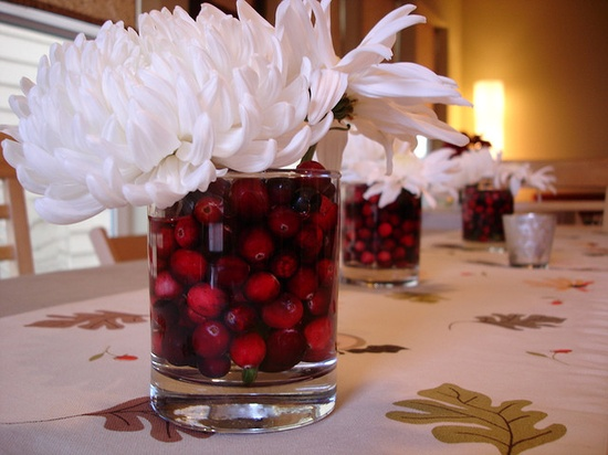 cranberries in flower arrangement
