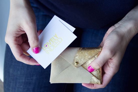 DIY leather and gold leaf business card holder