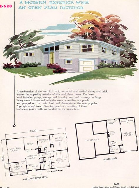 A modern exterior with an open plan interior. #vintage #house #plans #1950s