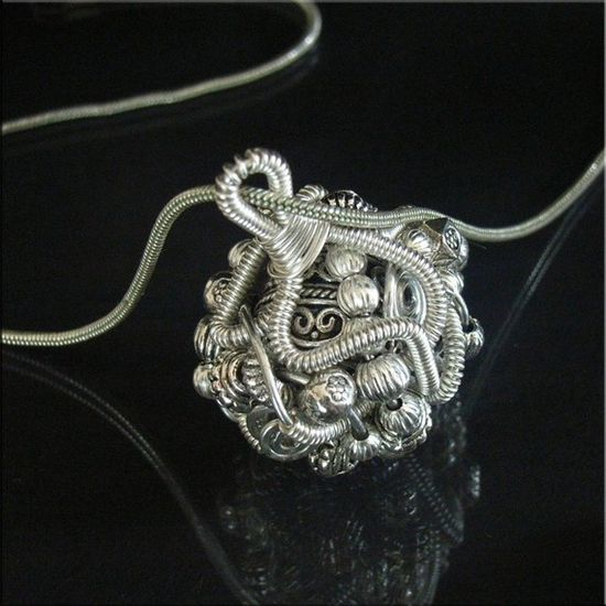 Jewelry Tutorial Pendant Necklace Wire Wrapped Coiled Metal No 3