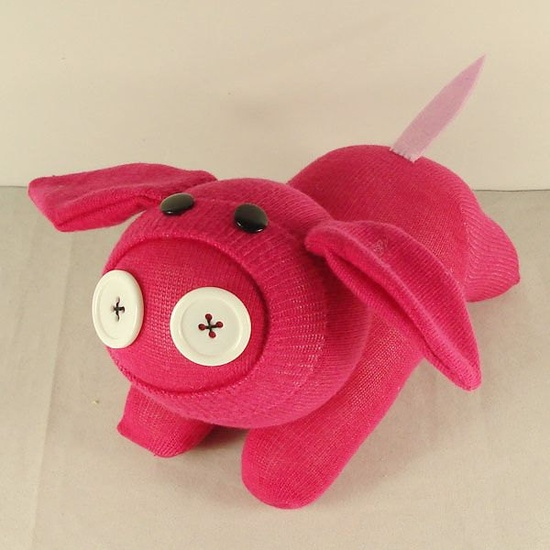 Handmade Pink Sock Baby Pig Stuffed Animal by supersockmonkeys