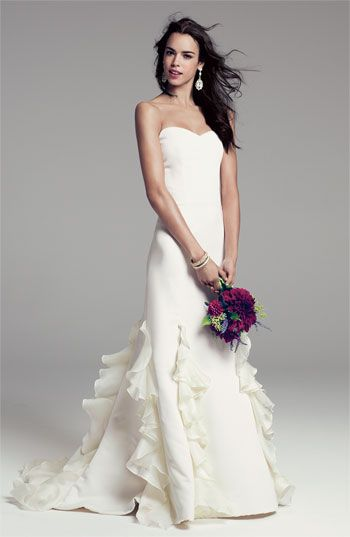 Christian Siriano strapless gown with ruffled skirt, available exclusively at Nordstrom #wedding