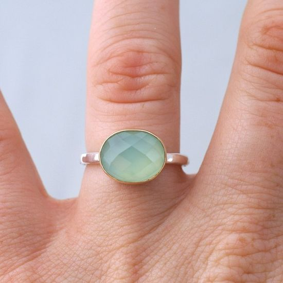 Golden Seafoam Facets chalcedony ring by Etsy seller kyleannemetals