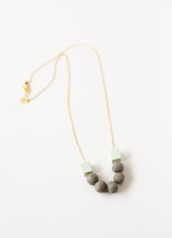 speckled grey and mint geo necklace by AMM Jewelry