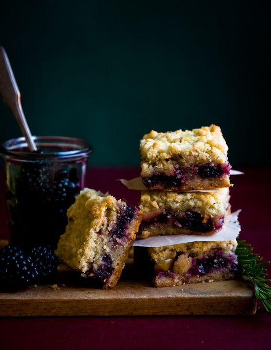Berry Apple and Rosemary Shortbread bars