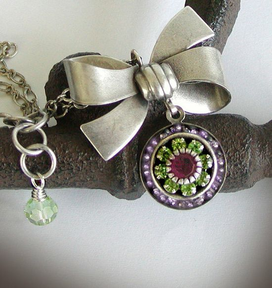 Are You Girly? ... Antique Silver Bow Pendant with Rhinestone Drop created by jQ jewelry designs.