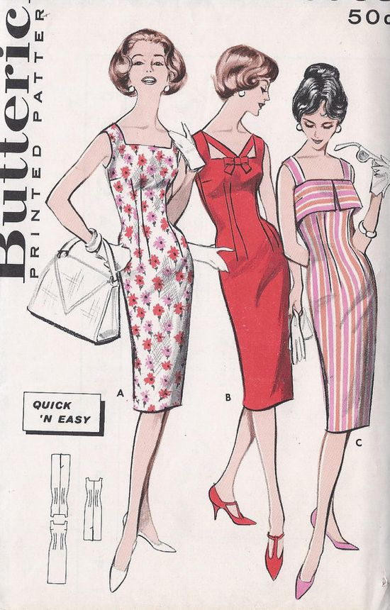 Vintage 1950's Wiggle Dress Pattern Three by CottageLaneTreasures, $15.00