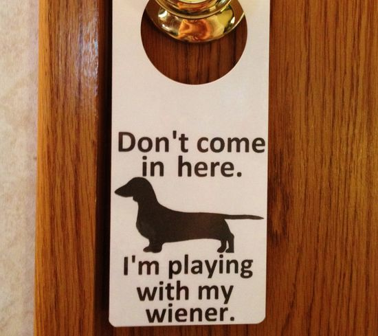 Dachshund Wiener Dog Do Not Enter Sign and Dry Erase Board. Weiner Dog Door Hanger.. $3.80, via Etsy.