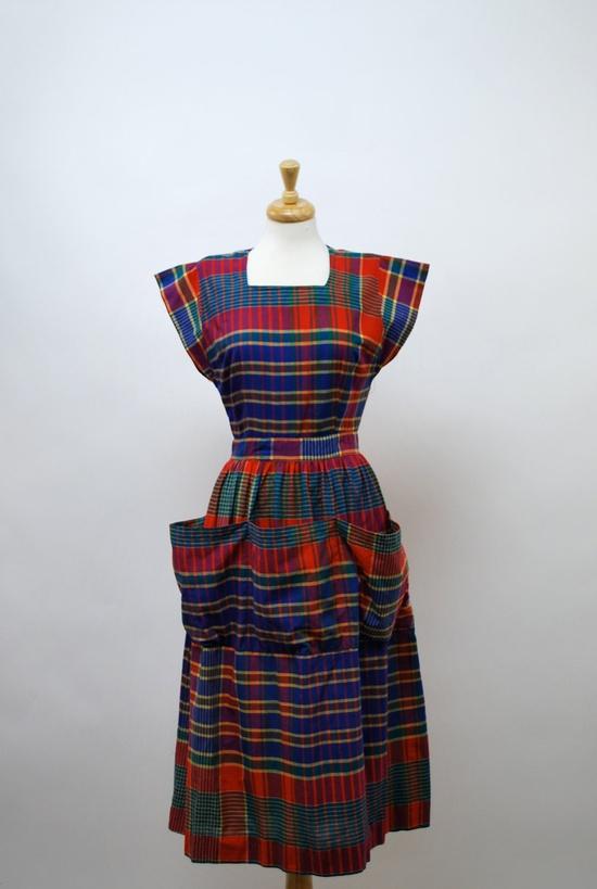 Those pockets!!! #vintage #1940s #plaid #dress