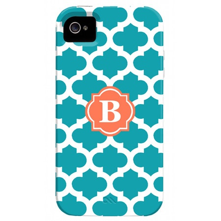Trellis Monogrammed iPhone 4 Case in Turquoise & Coral.