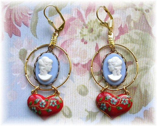 Vintage Blue White Cameo Red Floral Puffy Heart Earrings by TheVintageHeart, $18.00