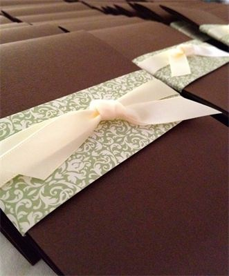 Mocha Envelopment Wedding Invitation : Mocha Envelopment with green and cream wrapper and double-faced satin ribbon.