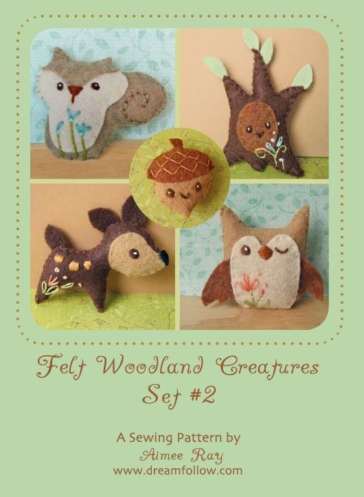 Mini Felt Woodland Creatures plush PDF pattern SET 2. $5.00, via Etsy.