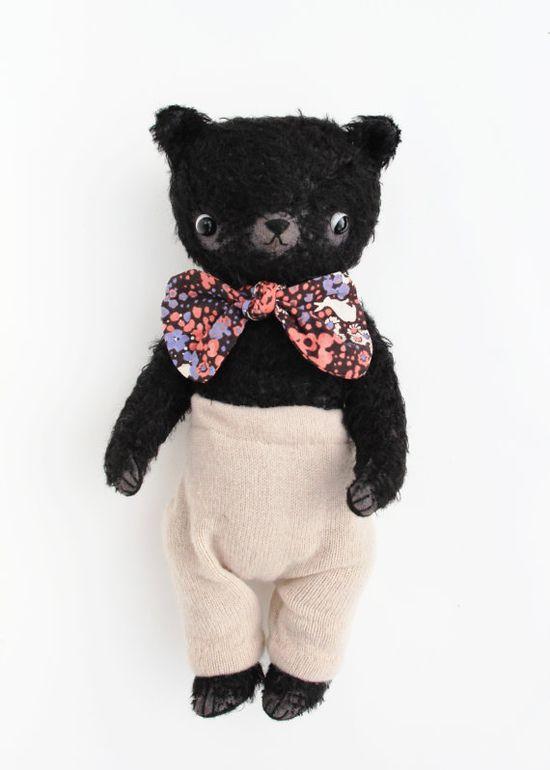 Hand dyed black mohair bear by foxandowl on Etsy