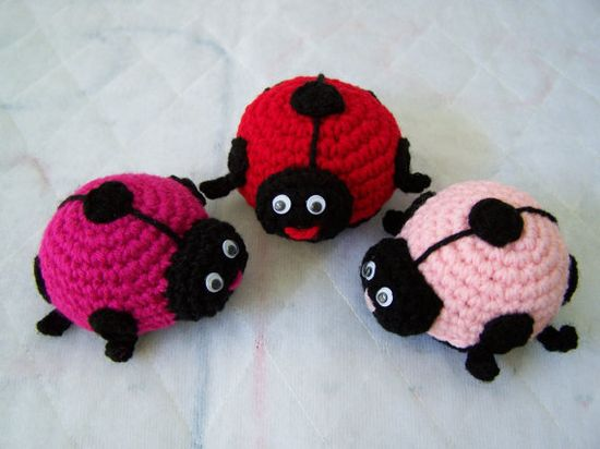 Crochet Lady Bugs Set Of 3 by craftswithlove4U on Etsy, 21.00